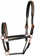 Harry's Horse Headcollar Leather Rosegold Black