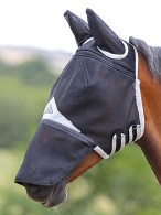 Shires Flymask Field Durable + Ears + Nose Black